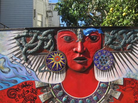Mayan-inspired multidimensional mural near San Francisco's Mission District