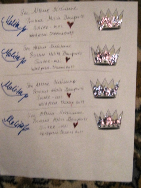 The invitations were all hand made, multiples, with slight variations.  A Bonaparte cottage industry.