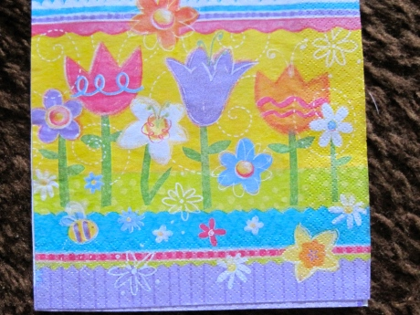 Front view of cheerfully decorated party napkin.  It siblings recently enhanced a party.  This one survived, unlike his relatives, who are composting as we speak.