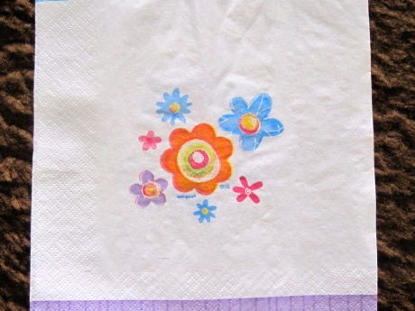 Back view of same party napkin.  You get two for the blot of one, you might say.