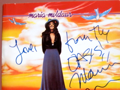The photograph I took of the album Maria Muldaur autographed for me when in San Francisco.