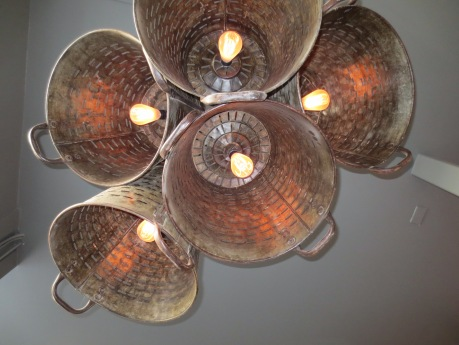 It's tiny, but don't forget to look up.  The light fixture is splendidly rustic!