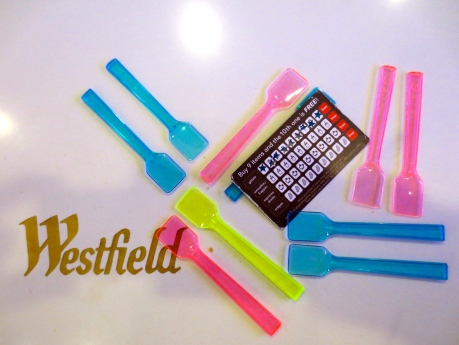 """Saying """"Goodbye"""" to my collection of pretty plastic gelato spoons @ Westfield Center, San Francisco 13 July 2013"""