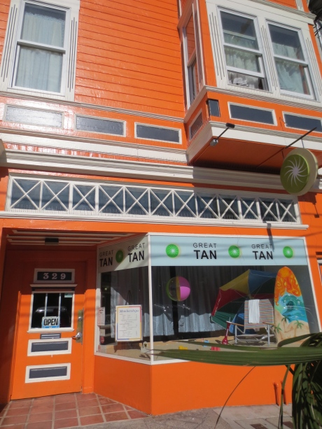 Thought this was right up there with Kansas! It's in San Francisco, as proudly orange as you can be-Great Tan, 329 Noe Street.  Saw this from the window of my home for physical fitness (Old English=gym).