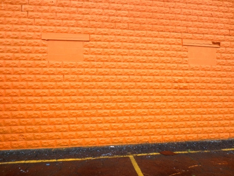 This is an exterior wall of a closed Mexican restaurant in Galena, Kansas.  The total orange saturation here would not work with the original English word.  It's a good thing that the Normans rescued us from our linguistic problems.