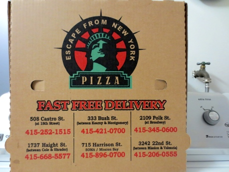Eating pizza that is well made & being inspired by an image of the Statue of Liberty is nice!