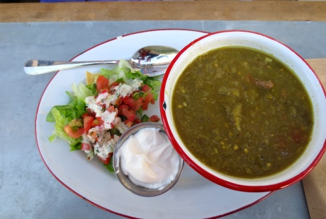 Green Chile Stew & Salad make a great energy booster for those long & wonderful days @ a Castro Theatre-based film festival!