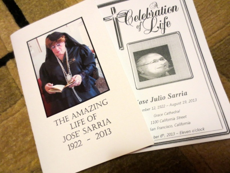 Memorial Programmes paying tribute to WWII Veteran & Empress Jose Sarria September 2013.