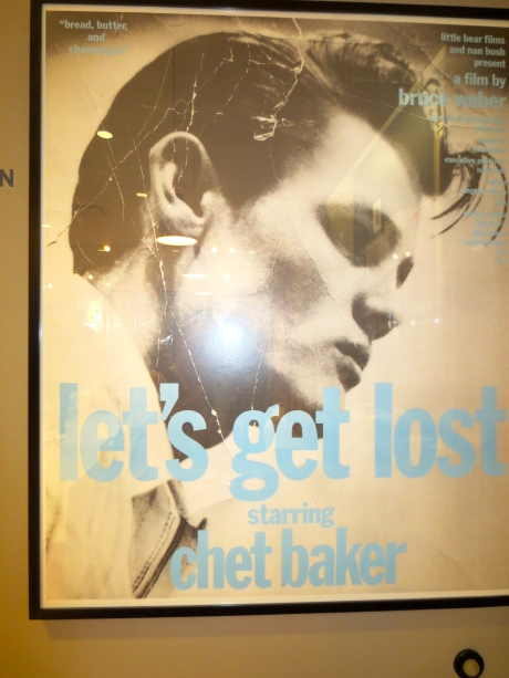 Poster from the 1988 documentary about jazz trumpeter Chet Baker--looking back to an earlier era @ J. Crew.