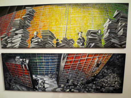 Book themed art by Rafael Landea on display @ glass door gallery.