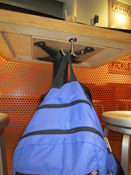 Minimize clutter & space problems:  Super Duper has done it right! Hang your bag & enjoy your meal!