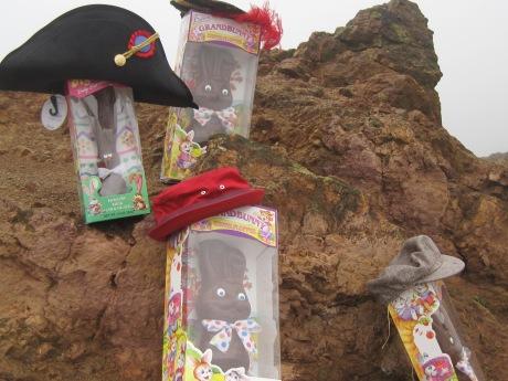 "The Bonaparte Bunny Family Association celebrates Bat Kid & the rain on the top of the Mount Melita, Corona Heights.  ""Merci, Merci!"""