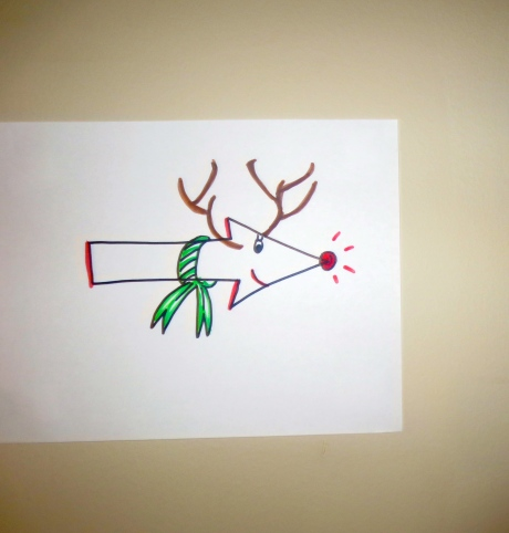 The most famous Reindeer in the world, once a victim of deer bullying (when in grammar school) lent his internationally known image, to show the way!