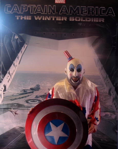 "This Captain Spaulding look-alike may creep you out, but he is the hope of America & for a world United against taking cinema promotional art & sticking in into a dumpster.  ""No more Dumpster Babies made of cardboard,"" he implores.  Call Paramount-put me in pictures!"""