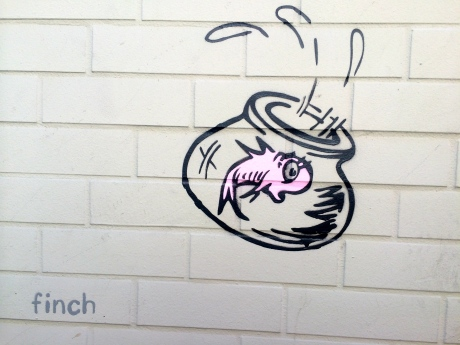 "Artist ""Finch"" captured a lonely fish in a bowl @ Market & Church Street MUNI Station."