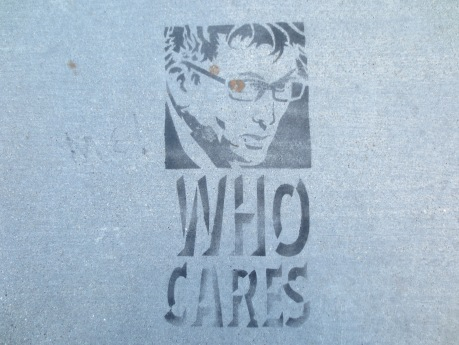 If it is Doctor Who, who cares?  If it is not Doctor Who, then Who may care, or not?  I'm just saying.  Anonymous sidewalk stencil artist. Taken 2013.